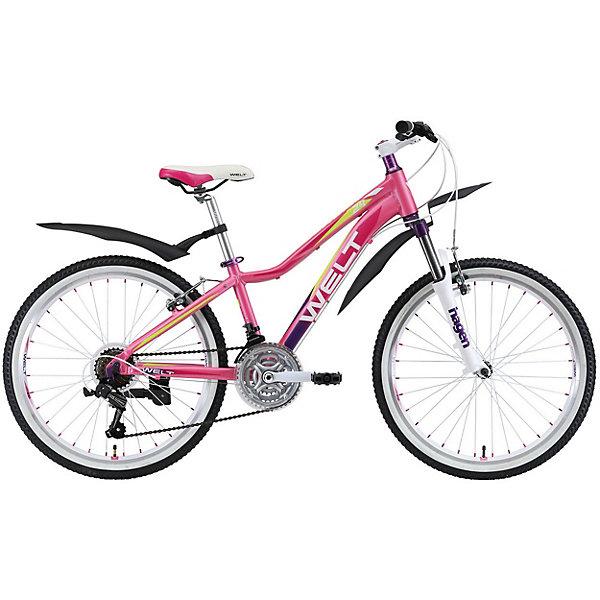 Велосипед Welt Edelweiss 24, розовыйВелосипеды и аксессуары<br>Характеристики:<br><br>• подростковый велосипед;<br>• обновленная рама с плавной линией верхней трубы;<br>• навесное оборудование;<br>• надежные компоненты;<br>• защитные крылья;<br>• двойные обода;<br>• амортизационная вилка;<br>• 7-скоростная трансмиссия;<br>• малый вес;<br>• диаметр колес: 24 дюйма (61 см);<br>• количество скоростей: 21;<br>• в комплекте: подножка и крылья;<br>• материал: алюминиевый сплав.<br><br>Велосипед предназначен для активных и спортивных подростков, которые много времени уделяют прогулкам на свежем воздухе и много времени посвящают здоровому образу жизни. Подростковый велосипед оснащен взрослым оборудованием. Модель обладает высококачественным навесным оборудованием и надежными компонентами. Крылья не дадут одежде промокнуть при передвижении по мокрым дорогам. Рама изготовлена из алюминиевого сплава, что придало модели малый вес без потери в прочности. Амортизационная вилка способна обработать все неровности дороги и не даст рукам забиться и устать. <br><br>Технические характеристики:<br><br>• Рама: Alloy 6061;<br>• Вилка: Hagen ES-440 Alloy 100mm;<br>• Переключатель задний: Shimano TY-21 <br>• Переключатель передний: Shimano TZ-30 <br>• Шифтеры: Shimano EF-500 3x7 <br>• Тип тормозов: #V_brake# <br>• Тормоза: Power 132S <br>• Система: 42/34/24 T 152mm  <br>• Кассета: FW-217B 14-28T <br>• Тип рулевой колонки:  semi-integrated 1-1/8*44 <br>• Покрышки: Wanda P1197 20x1,95<br><br>Велосипед Welt «Edelweiss 24», розовый можно купить в нашем интернет-магазине.<br>Ширина мм: 1450; Глубина мм: 80; Высота мм: 220; Вес г: 16500; Цвет: розовый/розовый; Возраст от месяцев: 84; Возраст до месяцев: 144; Пол: Женский; Возраст: Детский; SKU: 8450986;