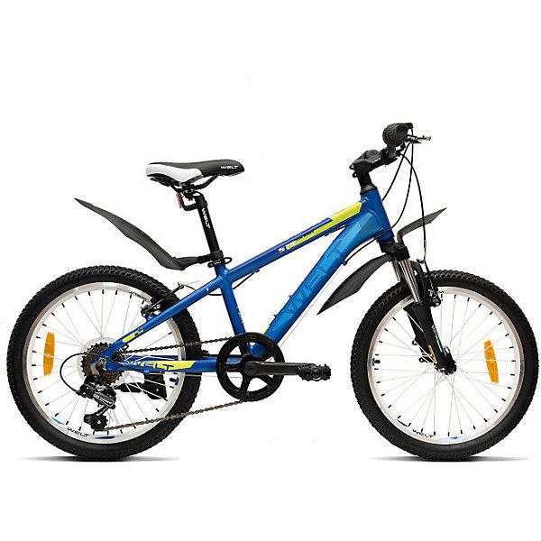 Велосипед Welt Peak 20, синийВелосипеды и аксессуары<br>Характеристики:<br><br>• детский велосипед;<br>• для детей от 7 до 9 лет;<br>• высококлассное оборудование;<br>• высокая прочность;<br>• амортизационная вилка;<br>• навесное оборудование Shimano TY-21;<br>• цепкие покрышки;<br>• ободные тормоза;<br>• количество скоростей: 7;<br>• диаметр колес: 20 дюймов (50.8 см);<br>• техногология Diamond Shape Geometry;<br>• технология Smooth Welding Design; <br>• технология   Special Teen Serie;<br>• материал: алюминиевый сплав.<br><br>Детский велосипед создан для активных мальчишек и девчонок. Модель обладает стильным дизайном, оснащена высококлассными компонентами и обладает высокой прочностью. Велосипед с амортизационной вилкой, навесным оборудование и цепкими покрышками. Транспортное средство для занятий спортом, здоровья и отдыха – детский велосипед Welt Peak 20.<br><br>Технические характеристики:<br><br>• Рама: Alloy 6061 <br>• Размер рамы: one size<br>• Вилка: Hagen ES-440 Alloy 50mm<br>• Пер. переключатель: нет<br>• Зад. Переключатель: Shimano TY-21<br>• Шифтеры: SHIMANO RS-35 R 7spd<br>• Тип тормозов: V-brake<br>• Тормоза: Power 132S<br>• Система: 42/34/24 T 152mm<br>• Кассета: FW-217B 14-28T<br>• Тип рулевой колонки:semi-integrated 1-1/8*44<br>• Покрышки: Wanda P1197 20x1,95<br><br>Велосипед Welt «Peak 20», синий можно купить в нашем интернет-магазине.<br>Ширина мм: 1450; Глубина мм: 80; Высота мм: 220; Вес г: 16500; Цвет: синий; Возраст от месяцев: 72; Возраст до месяцев: 108; Пол: Унисекс; Возраст: Детский; SKU: 8450988;