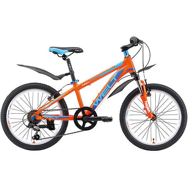 Велосипед Welt Peak 20, синийВелосипеды и аксессуары<br>Характеристики:<br><br>• детский велосипед;<br>• для детей от 7 до 9 лет;<br>• высококлассное оборудование;<br>• высокая прочность;<br>• амортизационная вилка;<br>• навесное оборудование Shimano TY-21;<br>• цепкие покрышки;<br>• ободные тормоза;<br>• количество скоростей: 7;<br>• диаметр колес: 20 дюймов (50.8 см);<br>• техногология Diamond Shape Geometry;<br>• технология Smooth Welding Design; <br>• технология   Special Teen Serie;<br>• материал: алюминиевый сплав.<br><br>Детский велосипед создан для активных мальчишек и девчонок. Модель обладает стильным дизайном, оснащена высококлассными компонентами и обладает высокой прочностью. Велосипед с амортизационной вилкой, навесным оборудование и цепкими покрышками. Транспортное средство для занятий спортом, здоровья и отдыха – детский велосипед Welt Peak 20.<br><br>Технические характеристики:<br><br>• Рама: Alloy 6061 <br>• Размер рамы: one size<br>• Вилка: Hagen ES-440 Alloy 50mm<br>• Пер. переключатель: нет<br>• Зад. Переключатель: Shimano TY-21<br>• Шифтеры: SHIMANO RS-35 R 7spd<br>• Тип тормозов: V-brake<br>• Тормоза: Power 132S<br>• Система: 42/34/24 T 152mm<br>• Кассета: FW-217B 14-28T<br>• Тип рулевой колонки:semi-integrated 1-1/8*44<br>• Покрышки: Wanda P1197 20x1,95<br><br>Велосипед Welt «Peak 20», синий можно купить в нашем интернет-магазине.<br>Ширина мм: 1450; Глубина мм: 80; Высота мм: 220; Вес г: 16500; Цвет: оранжевый; Возраст от месяцев: 72; Возраст до месяцев: 108; Пол: Унисекс; Возраст: Детский; SKU: 8450994;