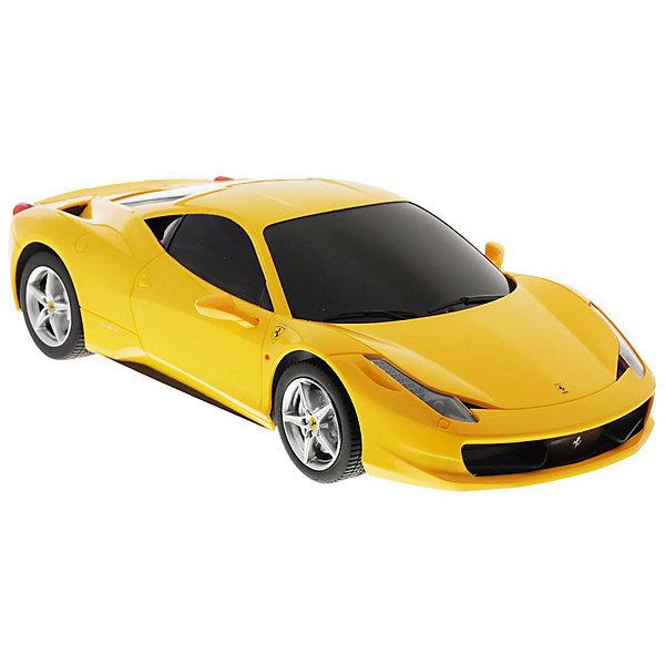 Радиоуправляемая машинка Rastar Ferrari 458 Italia, 1:18, желтаяРадиоуправляемые машины<br>Характеристики:<br><br>• возраст: от 6 лет;<br>• материал: пластик, металл;<br>• масштаб: 1:18;<br>• размер игрушки: 25,2х12,7х7 см;<br>• в наборе: автомобиль, пульт управления;<br>• максимальная скорость: 12 км/ч;<br>• частота управления: 40 MHz;<br>• дальность управления: 45 м;<br>• звуковые и световые эффекты: да;<br>• тип батареек: 4хАА;<br>• наличие батареек: не в комплекте;<br>• вес упаковки: 2,2 кг.;<br>• размер упаковки: 42х32х33 см;<br>• страна бренда: Китай.<br><br>Радиоуправляемая машинка Rastar Ferrari 458 Italia – точная копия прототипа спорткара. Кузов машинки детально проработан, у автомобиля низкая посадка, стекла тонированы.<br><br>Игрушечный кар управляется пультом дистанционно. Пульт выполнен в виде руля, на нем есть кнопки переключения скоростей, торможения и сигнала. Машина едет во всех направлениях, во время езды вперед загораются фары, назад – тормозные сигналы. Игра сопровождается звуками ревущего мотора и другими звуковыми эффектами. <br><br>Игрушка легко передвигается по ровной поверхности, корпус выдерживает удары и падения с небольшой высоты. Машинка подходит для игровых целей и в качестве дополнения коллекции моделей автолюбителей. Сделано из прочных качественных материалов.<br><br>Радиоуправляемую машинку Rastar Ferrari 458 Italia, 1:18 можно купить в нашем интернет-магазине.<br>Ширина мм: 420; Глубина мм: 320; Высота мм: 330; Вес г: 2200; Цвет: желтый; Возраст от месяцев: 36; Возраст до месяцев: 180; Пол: Мужской; Возраст: Детский; SKU: 8480528;