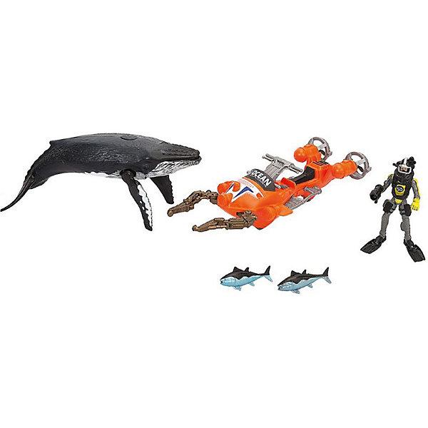 Набор Chap Mei  Акванавт на скутереИгровые наборы с фигурками<br>Характеристики:<br><br>• возраст: от 3 лет;<br>• материал: пластик;<br>• в наборе: фигура акванавта в снаряжении (шлем, ласты, глубоководный фонарь), скутер, синий кит, 2 тунца;<br>• вес упаковки: 740 гр.;<br>• размер упаковки: 45х11,5х15,3 см;<br>• страна бренда: Китай.<br><br>Набор Chap Mei «Акванавт на скутере» подойдет для игр в ванной. В распоряжении ребенка фигурка подводного исследователя, который может изучать глубины сам или использовать свой скутер с щупами. Шлем и ласты фигурки снимаются, в руку вставляется фонарь. Фигура кита имеет подвижные плавники и открывающуюся пасть. Набор выполнен из прочных материалов.<br><br>Набор Chap Mei «Акванавт на скутере» можно купить в нашем интернет-магазине.<br>Ширина мм: 451; Глубина мм: 115; Высота мм: 153; Вес г: 740; Цвет: синий; Возраст от месяцев: 36; Возраст до месяцев: 2147483647; Пол: Мужской; Возраст: Детский; SKU: 8487237;