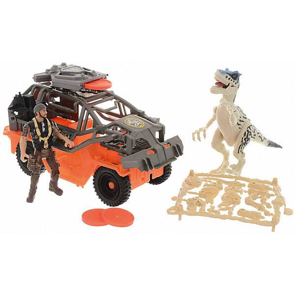 Набор Chap Mei  Динозавр Тиранозавр и охотник на джипеИгровые наборы с фигурками<br>Характеристики:<br><br>• возраст: от 3 лет;<br>• материал: пластик;<br>• в наборе: джип, 3 диска, фигурка охотника, тираннозавр;<br>• вес упаковки: 672 гр.;<br>• размер упаковки: 16,5х19х42,5 см;<br>• страна бренда: Китай.<br><br>Набор Chap Mei «Динозавр тиранозавр и охотник на джипе» представляет игровую сцену, в которой охотник пытается поймать особь хищника. Для этого у человека есть внедорожник, стреляющий дисками. Все игрушки из набора имеют детализированный внешний вид и рельефную поверхность. Конечности охотника и динозавра подвижны. Набор сделан из прочного пластика.<br><br>Набор Chap Mei «Динозавр тиранозавр и охотник на джипе» можно купить в нашем интернет-магазине.