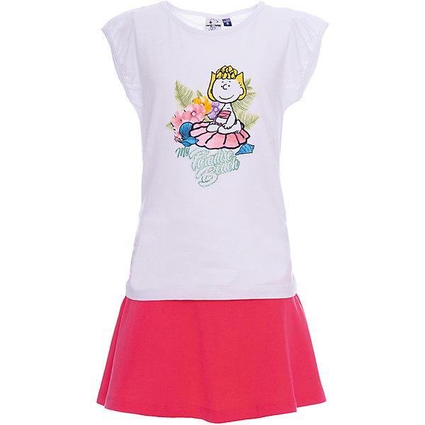 Комплект :футболка,юбка Original Marines для девочкиКомплекты<br>Характеристики товара:<br><br>• цвет: белый/розовый<br>• пол: девочки<br>• комплектация: футболка и юбка<br>• состав ткани: 100% хлопок<br>• сезон: лето<br>• особенности модели: рукава-воланы<br>• пояс: резинка<br>• комфорт и качество<br>• печатный принт<br>• страна бренда: Италия<br><br>Яркий леткий комплект для девочки сделан из натурального качественного материала,  белая красивая футболка украшена веселым рисунком, удобная юбка дополнена эластичной резинкой на поясе. Детский комплект комфортно сидит, не вызывает неудобств. Итальянский бренд Original Marines - это стильный продуманный дизайн и неизменно высокое качество исполнения. Парадуйте свою малышку ярким комплектом для активных летних прогулок.<br><br>Комплект: футболку и юбку Original Marines (Ориджинал Маринс) для девочки можно купить в нашем интернет-магазине.<br>Ширина мм: 199; Глубина мм: 10; Высота мм: 161; Вес г: 151; Цвет: белый; Возраст от месяцев: 96; Возраст до месяцев: 96; Пол: Женский; Возраст: Детский; Размер: 128,140,152; SKU: 8492372;
