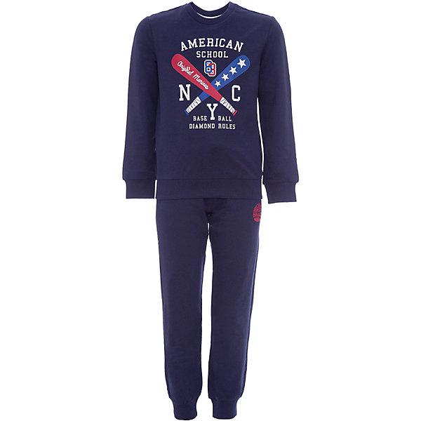 Комплект :толстовка,брюки Original Marines для мальчикаКомплекты<br>Характеристики товара:<br><br>• цвет: синий<br>• пол: мальчики<br>• комплектация: толстовка  и брюки<br>• состав ткани: 100% хлопок<br>• длинные рукава<br>• пояс: резинка<br>• особенности модели: спортивный стиль<br>• сезон: круглый год<br>• страна бренда: Италия<br><br>Модный спортивный костюм Original Marines - отличный вариант одежды для отдыха и занятий спортом. Спортивная толстовка с печатным принтом и брюки выполнены из качественного натурального хлопка. Ткань не линяет и хорошо держит форму. Удобный детский спортивный костюм от известного бренда Original Marines (Ориджинал Маринс) выглядит аккуратно и стильно. <br><br>ORIGINAL MARINES - очень яркая, красивая одежда с итальянским шармом. Она создаст полный образ для маленьких модниц и модников.<br><br>Комплект: толстовку, брюки для мальчика  Original Marines (Ориджинал Маринс)  можно купить в нашем интернет-магазине.<br>Ширина мм: 190; Глубина мм: 74; Высота мм: 229; Вес г: 236; Цвет: темно-синий; Возраст от месяцев: 96; Возраст до месяцев: 108; Пол: Мужской; Возраст: Детский; Размер: 128,140,152; SKU: 8492376;