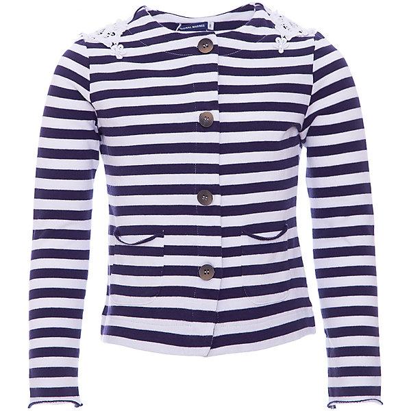 Жакет Original Marines для девочкиВерхняя одежда<br>Характеристики товара:<br><br>• цвет: синий;<br>• состав ткани: 100% хлопок;<br>• сезон: демисезон;<br>• застежка: пуговицы;<br>• длинные рукава;<br>• страна бренда: Италия.<br><br>Полосатый детский жакет сделан из натурального качественного материала, который обеспечивает комфорт на весь день. Жакет для детей отличается стильным лаконичным дизайном, на нём есть удобные карманы. Детский жакет может носиться как удобная повседневная одежда или надеваться для особых случаев - выглядит он стильно и оригинально. Эта модель - от итальянского бренда Original Marines, известного отличным качеством вещей и их стильным дизайном.<br><br>Жакет Original Marines (Ориджинал Маринс) для девочки можно купить в нашем интернет-магазине.<br>Ширина мм: 199; Глубина мм: 10; Высота мм: 161; Вес г: 151; Цвет: темно-синий; Возраст от месяцев: 96; Возраст до месяцев: 108; Пол: Женский; Возраст: Детский; Размер: 140,128,152; SKU: 8492385;