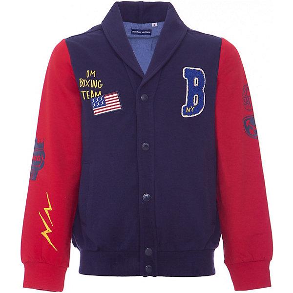 Толстовка Original Marines для мальчикаТолстовки<br>Характеристики товара:<br><br>• цвет: красный/синий<br>• пол: мальчики<br>• состав ткани: 100% хлопок <br>• сезон: круглый год<br>• длинные рукава<br>• на кнопках<br>• дизайнерский принт<br>• карманы<br>• отложный воротник<br>• страна бренда: Италия<br><br>Симпатичный кардиган для мальчика от итальянского бренда Original Marines - качественная вещь, созданная европейскими дизайнерами. Натуральный хлопок в составе изделия делает его дышащим, приятным на ощупь и гипоаллергенным. С таким жакетом можно создать много разных ансамблей - одинаково хорошо будет смотреться и классические брюки и джинсы. Украшенная стильным принтом, она обязательно понравится вашему юному  моднику. <br><br>Кардиган Original Marines (Ориджинал Маринс) для мальчика можно купить в нашем интернет-магазине.