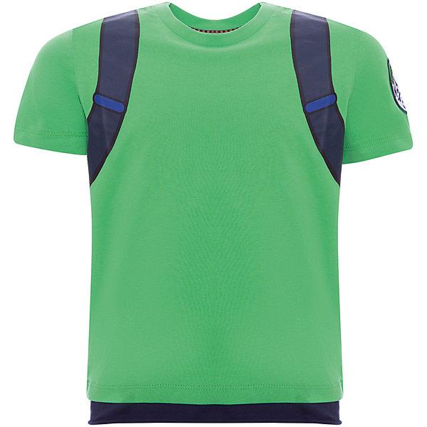 Футболка Original Marines для мальчикаФутболки, поло и топы<br>Характеристики товара:<br><br>• цвет: зеленый;<br>• состав ткани: 100% хлопок;<br>• сезон: лето;<br>• короткие рукава;<br>• страна бренда: Италия.<br><br>Легкая модная детская футболка выглядит оригинально благодаря принту в виде рюкзака. Футболка для детей от итальянского бренда Original Marines - качественная вещь, созданная европейскими дизайнерами. Хлопковая футболка для детей - удобная и универсальная одежда, отлично подходящая для теплой погоды. Детская футболка дополнена мягкой окантовкой ворота для повышения комфорта ребенка. <br><br>Футболку Original Marines (Ориджинал Маринс) для мальчика можно купить в нашем интернет-магазине.<br>Ширина мм: 199; Глубина мм: 10; Высота мм: 161; Вес г: 151; Цвет: зеленый; Возраст от месяцев: 48; Возраст до месяцев: 60; Пол: Мужской; Возраст: Детский; Размер: 104,92,116; SKU: 8492529;
