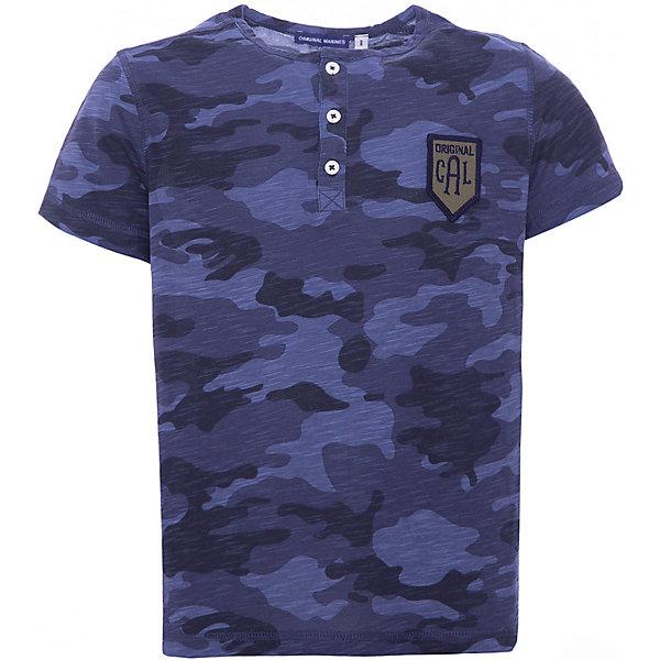 Футболка Original Marines для мальчикаФутболки, поло и топы<br>Характеристики товара:<br><br>• цвет: синий<br>• пол: мальчики<br>• состав: 94% хлопок 6% эластан<br>• с короткими рукавами<br>• принт-камуфляж<br>• пуговицы на воротнике<br>• страна бренда: Италия<br><br>Оригинальная футболка из натурального хлопка для мальчика поможет разнообразить гардероб ребенка и обеспечить комфорт в теплую погоду. Отлично сочетается с джинсами, брюками и шортами. Камуфляжный принт позволяет подобрать к вещи низ различных расцветок. Интересная отделка модели делает её нарядной и стильной. <br><br>Итальянский бренд Original Marines - это стильный продуманный дизайн и неизменно высокое качество исполнения. <br><br>Футболку Original Marines (Ориджинал Маринс) для мальчика можно купить в нашем интернет-магазине.<br>Ширина мм: 199; Глубина мм: 10; Высота мм: 161; Вес г: 151; Цвет: зеленый; Возраст от месяцев: 96; Возраст до месяцев: 96; Пол: Мужской; Возраст: Детский; Размер: 128,140; SKU: 8492746;