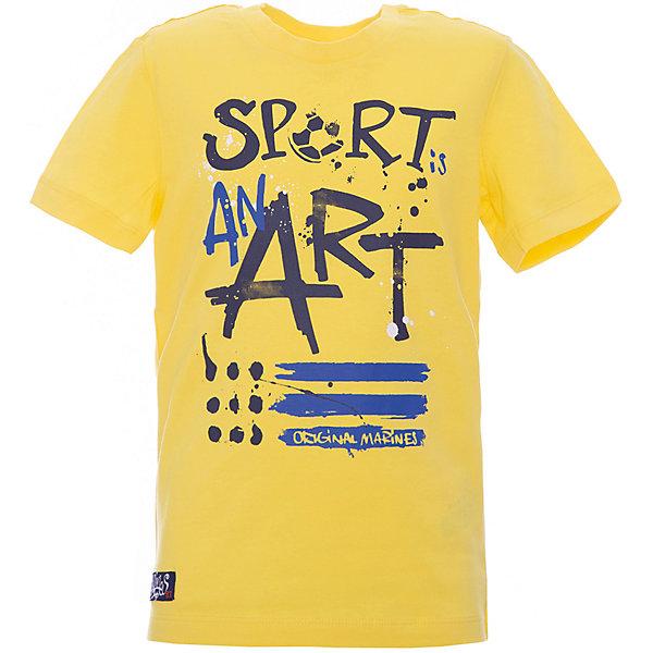 Футболка Original Marines для мальчикаФутболки, поло и топы<br>Характеристики товара:<br><br>• цвет: желтый<br>• пол: мальчики<br>• состав ткани: 100% хлопок <br>• сезон: лето<br>• короткие рукава<br>• украшена принтом <br>• страна бренда: Италия<br><br>Яркая принтованная футболка для мальчика - это основа для создания множества вариантов стильных нарядов. Детская футболка сделана из приятного на ощупь материала. Украшенная оригинальным рисунком, она обязательно понравится вашему ребенку. Футболка для детей от итальянского бренда Original Marines - качественная вещь, созданная европейскими дизайнерами.<br><br>Футболку Original Marines (Ориджинал Маринс) для мальчика можно купить в нашем интернет-магазине.<br>Ширина мм: 199; Глубина мм: 10; Высота мм: 161; Вес г: 151; Цвет: желтый; Возраст от месяцев: 48; Возраст до месяцев: 60; Пол: Мужской; Возраст: Детский; Размер: 104,116,92; SKU: 8492770;
