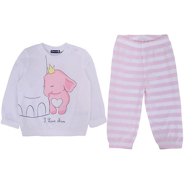 Пижама Original Marines для девочкиПижамы и сорочки<br>Характеристики товара:<br><br>• цвет: розовый;<br>• комплектация: лонгслив, брюки;<br>• состав ткани: 100% хлопок;<br>• сезон: круглый год;<br>• застежка: кнопки;<br>• пояс: резинка;<br>• длинные рукава;<br>• страна бренда: Италия.<br><br>Дышащая детская пижама была разработана европейскими дизайнерами бренда Original Marines специально для девочек. Хлопковая пижама для детей состоит из удобного принтованного лонгслива и брюк. Брюки от пижамы для ребенка не давят на живот - в них комфортная резинка. Такая детская пижама создает комфортные условия на протяжении всей ночи и позволяет коже дышать. <br><br>Пижаму Original Marines (Ориджинал Маринс) для девочки можно купить в нашем интернет-магазине.<br>Ширина мм: 281; Глубина мм: 70; Высота мм: 188; Вес г: 295; Цвет: белый; Возраст от месяцев: 12; Возраст до месяцев: 12; Пол: Женский; Возраст: Детский; Размер: 80,86,68/74; SKU: 8492888;