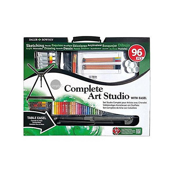 Художественный набор Daler Rowney Simply с мольбертом, 96 предметовХудожественные наборы<br>Характеристики:<br><br>• возраст: от 5 лет<br>• в наборе 96 предметов: алюминиевый мольберт; сумка для переноски; 25 цветов масляной пастели; 3 цветных карандаша; 3 графитных карандаша; 6 акриловых красок в тюбиках 12мл.; 3 кисти; грунтованный холст; палитра; 35 листов, бумаги для графики; 12 цветов акварели в кюветах; акварельная кисть (пленэрная); гид по смешению красок; пластиковый мастихин; точилка для карандашей; стирательная резинка.<br>• упаковка: картонная коробка<br>• размер упаковки: 68х110х3 см.<br>• вес: 1,64 кг.<br><br>Набор инструментов для изобразительного искусства Daler Rowney «Simply» станет идеальным подарком для тех, кто хочет попробовать всё и сразу или никак не может определиться с любимым стилем живописи.<br><br>Набор состоит из 96 предметов для работы акрилом, акварелью, пастелью, цветными и простыми карандашами - может использоваться как дома, так и на улице - он включает в себя дорожную сумку для легкой транспортировки.<br><br>Художественный набор Daler Rowney Simply с мольбертом, 96 предметов можно купить в нашем интернет-магазине.<br>Ширина мм: 680; Глубина мм: 1100; Высота мм: 30; Вес г: 1640; Цвет: разноцветный; Возраст от месяцев: 60; Возраст до месяцев: 2147483647; Пол: Унисекс; Возраст: Детский; SKU: 8492953;