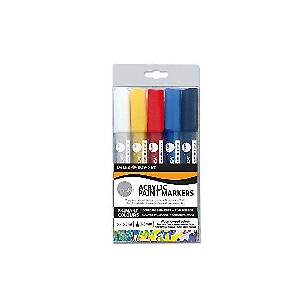 Акриловые маркеры Daler Rowney Simply, 5 цветовМаркеры<br>Характеристики:<br><br>• возраст: от 3 лет<br>• в наборе: 5 маркеров<br>• цвета: черный, красный, синий, желтый и белый<br>• диаметр наконечника: 2 мм.<br>• объем краски в каждом маркере: 5,3 мл.<br>• толщина линии: 2-3 мм.<br>• материал корпуса: пластик<br>• размер упаковки: 9х25х1,9 см.<br><br>Акриловые маркеры-текстовыделители Daler Rowney «Simply» с клапанной системой прокачки отлично пишут практически на любой поверхности - на бумаге, стекле, пластике, дереве, ткани, керамике и многом другом.<br><br>Маркеры заполнены акриловой водостойкой краской и оснащены 2-миллиметровым наконечником, который обеспечивает превосходное покрытие. После нанесения краска быстро высыхает, после высыхания не смывается водой (абсолютно водостойкие).<br><br>Акриловые маркеры Daler Rowney Simply, 5 цветов можно купить в нашем интернет-магазине.