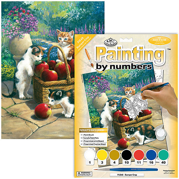 Купить Картина по номерам Royal&Langnickel Котята в корзинке , 22х29 см, Швейцария, Унисекс