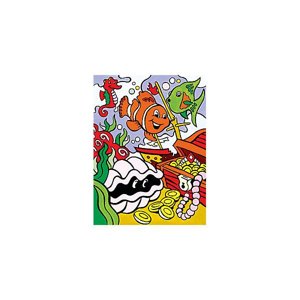 Картина по номерам для малышей Royal&amp;Langnickel Подводные сокровища, 22,5х29,8 смРаскраски для детей<br>Характеристики:<br><br>• возраст: от 4 лет;<br>• материал: бумага;<br>• комплектация: 7 акриловых красок, кисточка, контрольный лист;<br>• размер раскраски: 22,5х29,см;<br>• вес: 140 гр;<br>• размер: 30x23х2,5 см;<br>• бренд: Royal&amp;Langnickel.<br><br>MFP 015  Раскраска «Подводные сокровища» -  это изображения с пронумерованными зонами, которые обозначают определенный цвет. Номер внутри фрагмента соответствует номеру краски из набора. Раскраска изображений развивает творческое мышление, усидчивость, аккуратность. <br><br>Это увлекательное занятие понравится не только детям, но и взрослым, а получившийся шедевр станет отличным украшением интерьера или подарком. Занимаясь рисованием вместе с малышом, вы поможете развитию всей его психической деятельности: и таких важных интеллектуальных процессов, как восприятие, мышление, воображение; эмоциональности ребенка, волевой регуляции, заложите в нем стремление к творчеству и самостоятельности. <br><br>MFP 015  Раскраску «Подводные сокровища» можно купить в нашем интернет-магазине.<br>Ширина мм: 230; Глубина мм: 25; Высота мм: 300; Вес г: 140; Возраст от месяцев: 48; Возраст до месяцев: 2147483647; Пол: Унисекс; Возраст: Детский; SKU: 8506263;