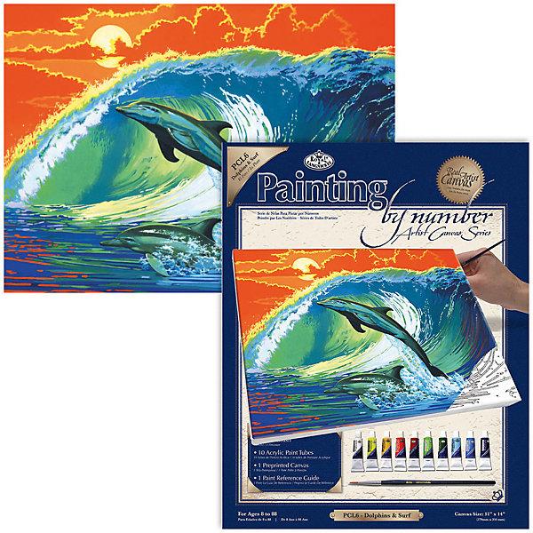 Картина по номерам на холсте Royal&amp;Langnickel Дельфины, 28х35 смКартины по номерам<br>Характеристики:<br><br>• возраст: от 8 лет;<br>• материал: бумага;<br>• комплектация: холст, 10 акриловых красок по 5 мл, кисточка, контрольный лист;<br>• размер раскраски: 35х28 см;<br>• вес: 300 гр;<br>• размер: 24,1x2х33 см;<br>• бренд: Royal&amp;Langnickel.<br><br>PCL 6 Холст  «Дельфины» поможет почувствовать себя художником и создать свою собственную картину! В набор входит: - акриловые краски на водной основе, которые не токсичны и легко смываются водой - холст на подрамнике с нанесенной схемой рисунка- кисть. <br><br>Рисунок разделен на пронумерованые участки. Раскрашивая участок картины, выбирайте краску с соответствующим ему номером, если номеров два, то их необходимо смешать. Картина полностью высохнет в течении 15-20 мин. <br><br>Рисование развивает у ребенка аккуратность, усидчивость, способствует формированию художественного вкуса. Рисование является прекрасной подготовкой к письму, развивает моторику пальцев, укрепляет кисть руки.<br><br>PCL 6  Холст  «Дельфины» можно купить в нашем интернет-магазине.<br>Ширина мм: 241; Глубина мм: 20; Высота мм: 330; Вес г: 300; Возраст от месяцев: 96; Возраст до месяцев: 2147483647; Пол: Унисекс; Возраст: Детский; SKU: 8506331;