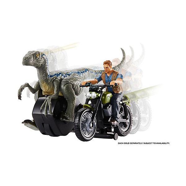 Купить Набор фигурок Jurassic World Заводные преследователи Оуэн Грейди на мотоцикле, Mattel, Индонезия, Мужской