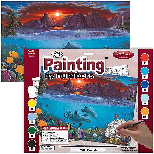 Картина по номерам Royal&amp;Langnickel Жизнь океана, 28,5х35 смКартины по номерам<br>Характеристики:<br><br>• возраст: от 8 лет;<br>• материал: бумага;<br>• комплектация: основа, 10 красок, кисточка;<br>• размер раскраски: 28,5х39 см;<br>• вес: 260 гр;<br>• размер: 32,4x2х40 см;<br>• бренд: Royal&amp;Langnickel.<br><br>PAL 20 Раскраска красками «Жизнь океана»  предназначена для детей от 8 лет. В набор входит: основа  с нанесенной на ней схемой рисунка, размер 28,5 * 39 см, 10 красок, кисточка. Раскраска по номерам обязательно понравится начинающим художникам. Рисовать с таким набором очень просто. <br><br>Рисунок разделен на участки. Все они пронумерованы. Краски тоже имеют номера. Раскрашивая участок картины, выбирайте краску с соответствующим ему номером.  Если на участке стоит два или три номера, значит, потребуется смешать две или три краски. Аккуратно нанесите краску на все пронумерованные участки картины. <br><br>Краска полностью высохнет в течении 15-20 мин. Рисование красками развивает у ребенка аккуратность, усидчивость, способствует формированию художественного вкуса. Рисование является прекрасной подготовкой к письму, развивает моторику пальцев, укрепляет кисть руки.<br><br>PAL 20 Раскраску красками «Жизнь океана» можно купить в нашем интернет-магазине.<br>Ширина мм: 324; Глубина мм: 20; Высота мм: 400; Вес г: 260; Возраст от месяцев: 96; Возраст до месяцев: 2147483647; Пол: Унисекс; Возраст: Детский; SKU: 8506423;