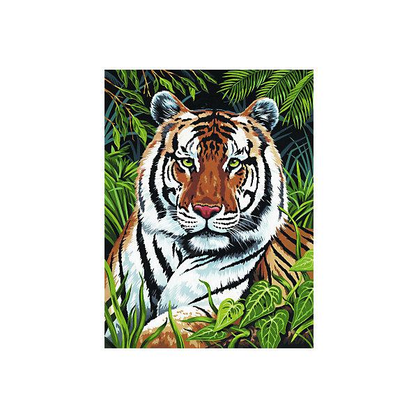 Картина по номерам на холсте Royal&Langnickel Тигр, 22х30 смКартины по номерам<br>Характеристики:<br><br>• возраст: от 8 лет;<br>• материал: бумага;<br>• комплектация: холст, 10 акриловых красок по 5 мл, кисточка, контрольный лист;<br>• размер раскраски: 30х22 см;<br>• вес: 300 гр;<br>• размер: 22,9x2,5х30,5 см;<br>• бренд: RoyalLangnickel.<br><br>PCS 04 Холст «Тигр» поможет почувствовать себя художником и создать свою собственную картину. Рисунок разделен на участки. Все они пронумерованы. Краски тоже имеют номера. Раскрашивая участок картины, выбирайте краску с соответствующим ему номером. Если на участке стоит два номера, значит, потребуется смешать две краски. <br><br>Аккуратно нанесите краску на все участки картины. Краска полностью высохнет в течении 15-20 мин. Рисование красками развивает у ребенка аккуратность, усидчивость, способствует формированию художественного вкуса. Рисование является прекрасной подготовкой к письму, развивает моторику пальцев, укрепляет кисть руки. Акриловые краски на водной основе, не токсичны и легко смываются водой.<br><br>PCS 04 Холст «Тигр» можно купить в нашем интернет-магазине.