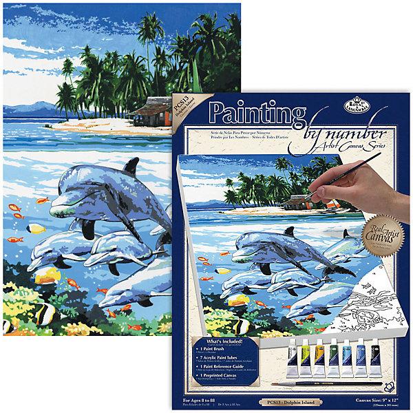 """Royal&Langnickel Картина по номерам на холсте Royal&Langnickel """"Остров дельфинов"""", 22х30 см"""