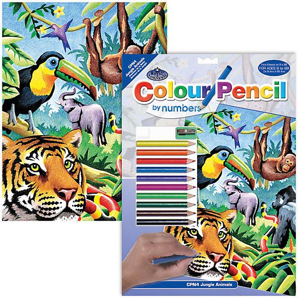 Картина по номерам карандашами Royal&amp;Langnickel Джунгли, 22х29 смКартины по номерам<br>Характеристики:<br><br>• возраст: от 8 лет;<br>• материал: бумага;<br>• комплектация: 10 карандашей, контрольный лист, точилка;<br>• размер раскраски: 22х29 см;<br>• вес: 130 гр;<br>• размер: 24,1x33х1,5 см;<br>• бренд: Royal&amp;Langnickel.<br><br>CPN 04 Раскраска карандашами «Джунгли» подходит для детей от 8 лет. В набор входит основа с нанесенной на ней схемой рисунка размер 22*29 см, цветные карандаши 10 цветов, контрольный лист,  точилка. Рисунок разделен на небольшие участки, каждый из которых следует раскрашивать карандашом, соответствующего цвета. <br><br>Все карандаши имеют номер. Для удобства, в набор входит калька, дублирующая рисунок раскраски. На ней каждый участок рисунка пронумерован. С помощью накладывания кальки на рисунок, можно определить карандашом какого цвета следует раскрашивать тот или иной фрагмент рисунка.  <br><br>CPN 04 Раскраску карандашами «Джунгли» можно купить в нашем интернет-магазине.<br>Ширина мм: 241; Глубина мм: 15; Высота мм: 330; Вес г: 130; Возраст от месяцев: 96; Возраст до месяцев: 2147483647; Пол: Унисекс; Возраст: Детский; SKU: 8506589;
