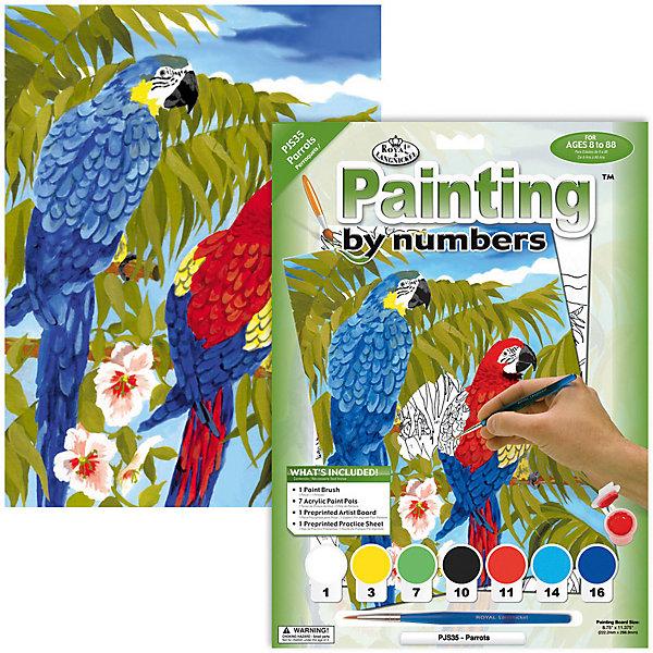 Картина по номерам Royal&amp;Langnickel Попугаи, 22х29 смКартины по номерам<br>Характеристики:<br><br>• возраст: от 8 лет;<br>• материал: бумага;<br>• комплектация: раскраска по номерам 22.2 х 28.9 см, 7 красок, кисть и контрольный лист;<br>• размер раскраски: 22,2х28,9 см;<br>• вес: 220 гр;<br>• размер: 24,1x2х33 см;<br>• бренд: Royal&amp;Langnickel.<br><br>PJS 35 Раскраска красками «Попугаи»  -  это изображения с пронумерованными зонами, которые обозначают определенный цвет. Номер внутри фрагмента соответствует номеру краски из набора. Некоторые цвета необходимо смешать, тогда фрагмент будет обозначен в виде дроби. <br><br>Раскраска изображений развивает творческое мышление, усидчивость, аккуратность. Это увлекательное занятие понравится не только детям, но и взрослым, а получившийся шедевр станет отличным украшением интерьера или подарком. <br><br>PJS 35 Раскраску красками «Попугаи» можно купить в нашем интернет-магазине.<br>Ширина мм: 241; Глубина мм: 20; Высота мм: 330; Вес г: 220; Возраст от месяцев: 96; Возраст до месяцев: 2147483647; Пол: Унисекс; Возраст: Детский; SKU: 8506599;