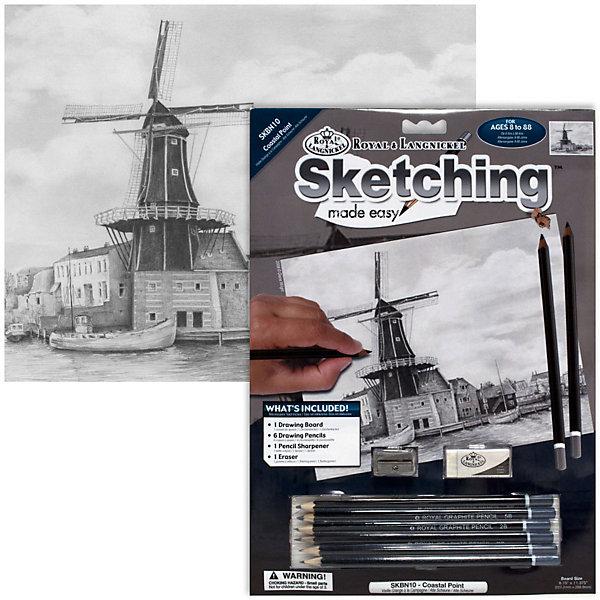 Royal&Langnickel Картина-эскиз по номерам карандашами Пристань, 22х29 см