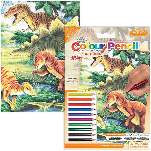 Купить Мини-картина по номерам карандашами Royal&Langnickel Динозавр , 14х20 см, Китай, Унисекс