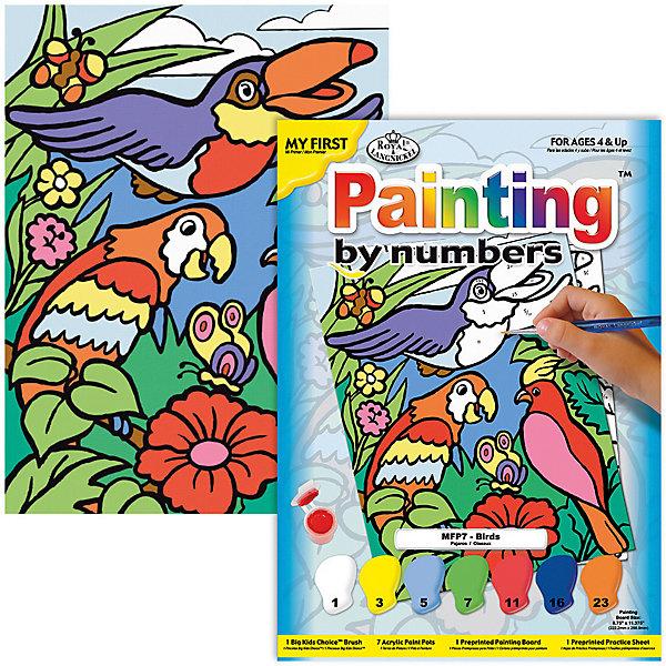 Картина по номерам для малышей Royal&amp;Langnickel Птицы, 22,5х29,8 смРаскраски для детей<br>Характеристики:<br><br>• возраст: от 4 лет;<br>• материал: бумага;<br>• комплектация: 7 акриловых красок, кисточка, контрольный лист;<br>• размер раскраски: 22,5х29,см;<br>• вес: 140 гр;<br>• размер: 30x23х2,5 см;<br>• бренд: Royal&amp;Langnickel.<br><br>MFP 007  Раскраска «Птицы» -  это изображения с пронумерованными зонами, которые обозначают определенный цвет. Номер внутри фрагмента соответствует номеру краски из набора. Раскраска изображений развивает творческое мышление, усидчивость, аккуратность. <br><br>Это увлекательное занятие понравится не только детям, но и взрослым, а получившийся шедевр станет отличным украшением интерьера или подарком. Занимаясь рисованием вместе с малышом, вы поможете развитию всей его психической деятельности: и таких важных интеллектуальных процессов, как восприятие, мышление, воображение; эмоциональности ребенка, волевой регуляции, заложите в нем стремление к творчеству и самостоятельности. <br><br>MFP 007  Раскраску «Птицы» можно купить в нашем интернет-магазине.<br>Ширина мм: 230; Глубина мм: 25; Высота мм: 300; Вес г: 140; Возраст от месяцев: 48; Возраст до месяцев: 2147483647; Пол: Унисекс; Возраст: Детский; SKU: 8506693;