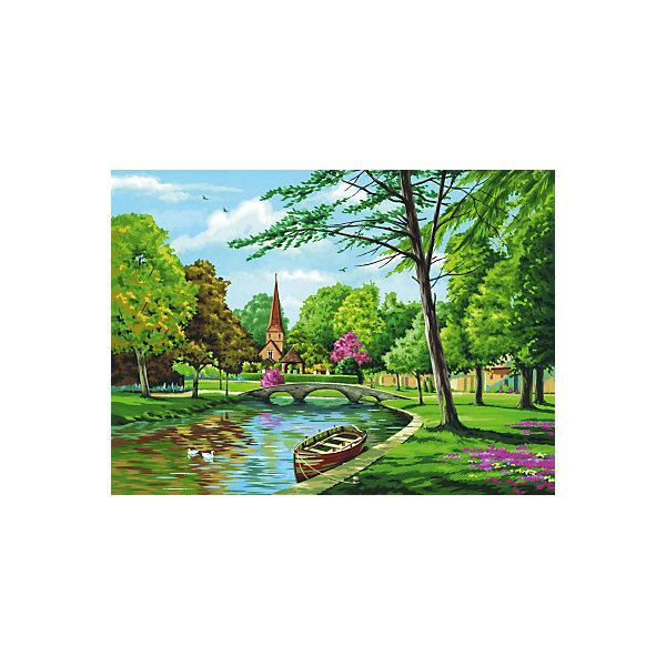 Купить Картина по номерам на холсте Royal&Langnickel Церковь у реки , 28х35 см, Китай, Унисекс