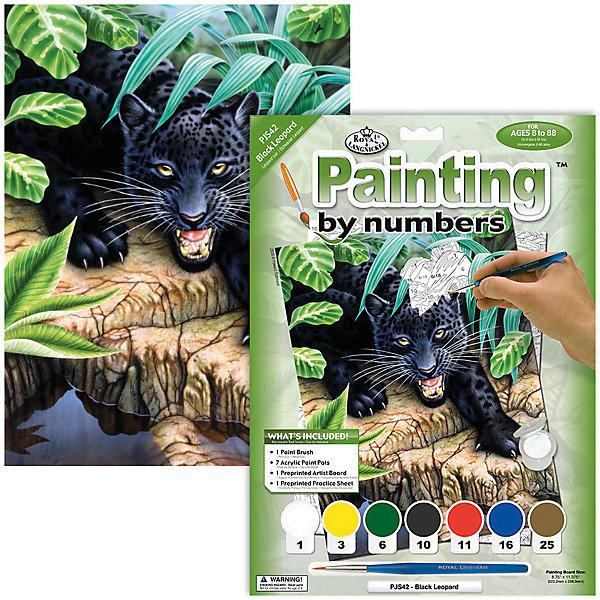 Картина по номерам Royal&amp;Langnickel Чёрный леопард, 22х29 смКартины по номерам<br>Характеристики:<br><br>• возраст: от 8 лет;<br>• материал: бумага;<br>• комплектация: раскраска по номерам 22.2 х 28.9 см, 7 красок, кисть;<br>• размер раскраски: 22х29 см;<br>• вес: 220 гр;<br>• размер: 24,1x2х33 см;<br>• бренд: Royal&amp;Langnickel.<br><br>PJS 42 Раскраска красками «Черный леопард»  подходит для детей от 8 лет. В набор входит основа с нанесенной на ней схемой рисунка размер 22*29 см, краски 7 цветов, кисточка. Раскраска по номерам обязательно понравится начинающим художникам. Рисовать с таким набором очень просто. Рисунок разделен на участки. Все они пронумерованы. <br><br>Краски тоже имеют номера. Раскрашивая участок картины, выбирайте краску с соответствующим ему номером.  Если на участке стоит два или три номера, значит, потребуется смешать две или три краски. Аккуратно нанесите краску на все пронумерованные участки картины. Краска полностью высохнет в течении 15-20 мин. <br><br>Рисование красками развивает у ребенка аккуратность, усидчивость, способствует формированию художественного вкуса. Рисование является прекрасной подготовкой к письму, развивает моторику пальцев, укрепляет кисть руки.<br><br>PJS 42 Раскраску красками «Черный леопард» можно купить в нашем интернет-магазине.<br>Ширина мм: 241; Глубина мм: 20; Высота мм: 330; Вес г: 220; Возраст от месяцев: 96; Возраст до месяцев: 2147483647; Пол: Унисекс; Возраст: Детский; SKU: 8506725;