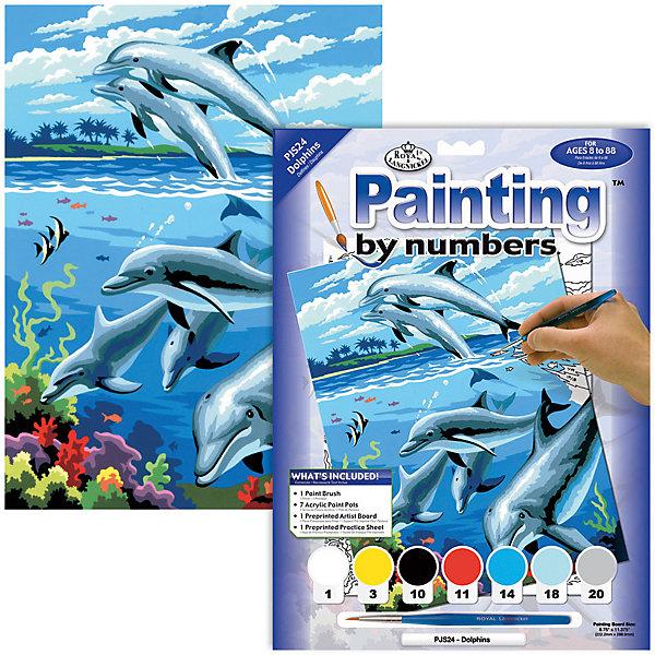 Картина по номерам Royal&amp;Langnickel Дельфины, 22х29 смКартины по номерам<br>Характеристики:<br><br>• возраст: от 8 лет;<br>• материал: бумага;<br>• комплектация: раскраска по номерам 22.2 х 28.9 см, 7 красок, кисть и контрольный лист;<br>• размер раскраски: 22,2х28,9 см;<br>• вес: 220 гр;<br>• размер: 24,1x2х33 см;<br>• бренд: Royal&amp;Langnickel.<br><br>PJS 24 Раскраска красками «Дельфины»  -  это изображения с пронумерованными зонами, которые обозначают определенный цвет. Номер внутри фрагмента соответствует номеру краски из набора. Некоторые цвета необходимо смешать, тогда фрагмент будет обозначен в виде дроби. <br><br>Раскраска изображений развивает творческое мышление, усидчивость, аккуратность. Это увлекательное занятие понравится не только детям, но и взрослым, а получившийся шедевр станет отличным украшением интерьера или подарком. <br><br>PJS 24 Раскраску красками «Дельфины» можно купить в нашем интернет-магазине.<br>Ширина мм: 241; Глубина мм: 20; Высота мм: 330; Вес г: 220; Возраст от месяцев: 96; Возраст до месяцев: 2147483647; Пол: Унисекс; Возраст: Детский; SKU: 8506763;