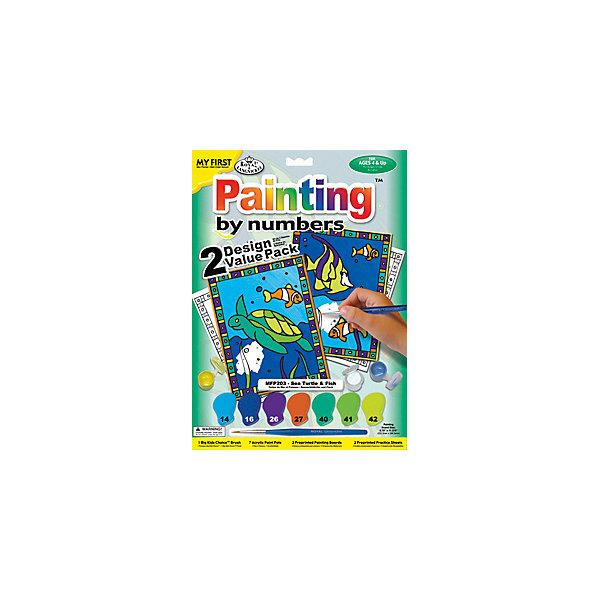 """Royal&Langnickel Картина по номерам для малышей Royal&Langnickel """"Черепаха и рыбка"""" 2 шт., 22,5х29,8 см"""