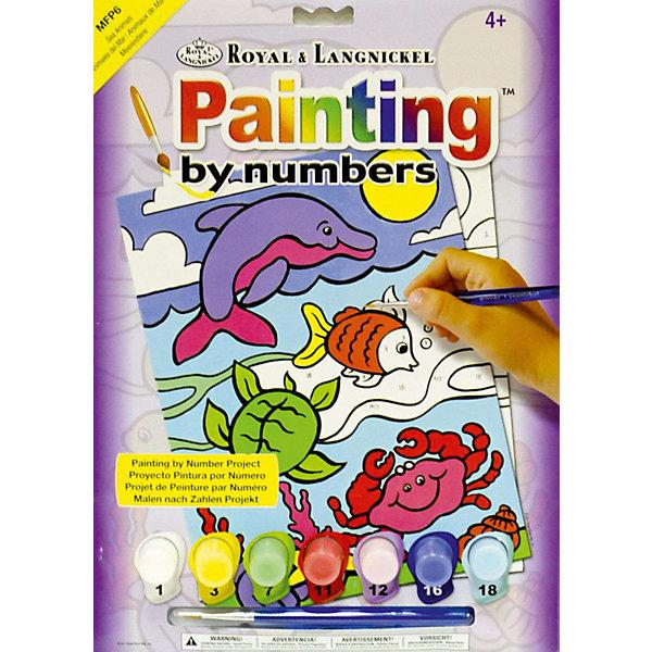 Картина по номерам для малышей Royal&amp;Langnickel Жители моря, 22,5х29,8 смРаскраски для детей<br>Характеристики:<br><br>• возраст: от 4 лет;<br>• материал: бумага;<br>• комплектация: 7 акриловых красок, кисточка, контрольный лист;<br>• размер раскраски: 22,5х29,см;<br>• вес: 140 гр;<br>• размер: 30x23х2,5 см;<br>• бренд: Royal&amp;Langnickel.<br><br>MFP 006  Раскраска «Жители моря» -  это изображения с пронумерованными зонами, которые обозначают определенный цвет. Номер внутри фрагмента соответствует номеру краски из набора. Раскраска изображений развивает творческое мышление, усидчивость, аккуратность. <br><br>Это увлекательное занятие понравится не только детям, но и взрослым, а получившийся шедевр станет отличным украшением интерьера или подарком. Занимаясь рисованием вместе с малышом, вы поможете развитию всей его психической деятельности: и таких важных интеллектуальных процессов, как восприятие, мышление, воображение; эмоциональности ребенка, волевой регуляции, заложите в нем стремление к творчеству и самостоятельности. <br><br>MFP 006  Раскраску «Жители моря» можно купить в нашем интернет-магазине.<br>Ширина мм: 230; Глубина мм: 25; Высота мм: 300; Вес г: 140; Возраст от месяцев: 48; Возраст до месяцев: 2147483647; Пол: Унисекс; Возраст: Детский; SKU: 8506779;
