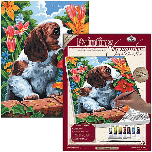 Купить PCS 07 Холст 22*30 см. Щенок и лилии , Royal&Langnickel, Швейцария, Унисекс