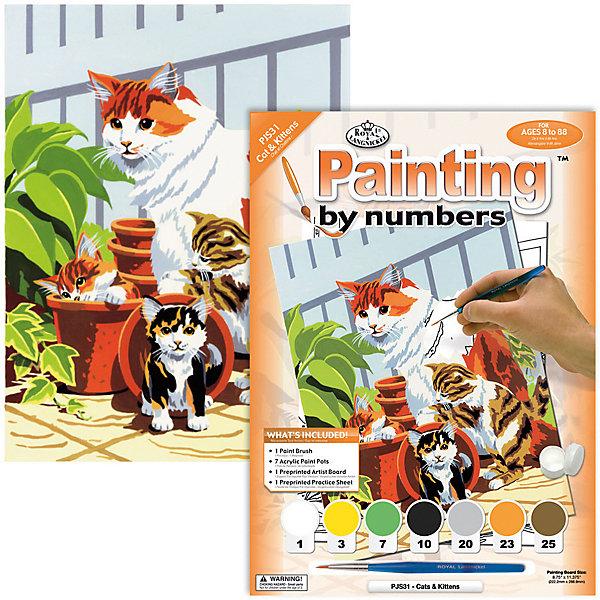 PJS 31 Раскраска красками Кошка с котятами , Royal&Langnickel, Швейцария, Унисекс  - купить со скидкой