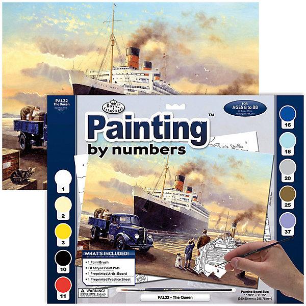 Картина по номерам Royal&amp;Langnickel Отплытие королевы, 28,5х35 смКартины по номерам<br>Характеристики:<br><br>• возраст: от 8 лет;<br>• материал: бумага;<br>• комплектация: основа, 10 красок, кисточка;<br>• размер раскраски: 28,5х39 см;<br>• вес: 260 гр;<br>• размер: 32,4x2х40 см;<br>• бренд: Royal&amp;Langnickel.<br><br>PAL 22 Раскраска красками «Отплытие королевы»  предназначена для детей от 8 лет. В набор входит: основа  с нанесенной на ней схемой рисунка, размер 28,5 * 39 см, 10 красок, кисточка. Раскраска по номерам обязательно понравится начинающим художникам. Рисовать с таким набором очень просто. <br><br>Рисунок разделен на участки. Все они пронумерованы. Краски тоже имеют номера. Раскрашивая участок картины, выбирайте краску с соответствующим ему номером.  Если на участке стоит два или три номера, значит, потребуется смешать две или три краски. Аккуратно нанесите краску на все пронумерованные участки картины. <br><br>Краска полностью высохнет в течении 15-20 мин. Рисование красками развивает у ребенка аккуратность, усидчивость, способствует формированию художественного вкуса. Рисование является прекрасной подготовкой к письму, развивает моторику пальцев, укрепляет кисть руки.<br><br>PAL 22 Раскраску красками «Отплытие королевы» можно купить в нашем интернет-магазине.<br>Ширина мм: 324; Глубина мм: 20; Высота мм: 400; Вес г: 260; Возраст от месяцев: 96; Возраст до месяцев: 2147483647; Пол: Унисекс; Возраст: Детский; SKU: 8506847;