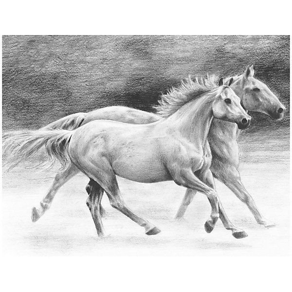 Купить Картина-эскиз по номерам карандашами Royal&Langnickel Бегущие лошади , 22х29 см, Китай, Унисекс