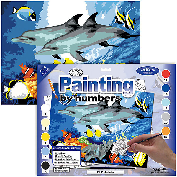Купить Картина по номерам Royal&Langnickel Дельфины , 28, 5х35 см, Швейцария, Унисекс
