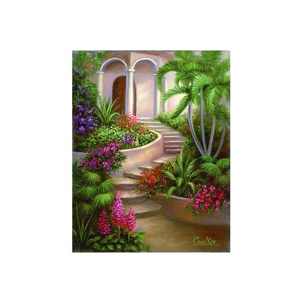 "Royal&Langnickel Картина по номерам на холсте Гризайль Royal&Langnickel ""Испанский садик"", 28х35 см"
