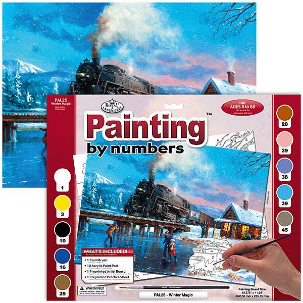 Картина по номерам Royal&amp;Langnickel Зимнее волшебство, 28,5х35 смКартины по номерам<br>Характеристики:<br><br>• возраст: от 8 лет;<br>• материал: бумага;<br>• комплектация: основа, 10 красок, кисточка;<br>• размер раскраски: 28,5х39 см;<br>• вес: 260 гр;<br>• размер: 32,4x2х40 см;<br>• бренд: Royal&amp;Langnickel.<br><br>PAL 25 Раскраска красками «Зимнее волшебство»  предназначена для детей от 8 лет. В набор входит: основа  с нанесенной на ней схемой рисунка, размер 28,5 * 39 см, 10 красок, кисточка. Раскраска по номерам обязательно понравится начинающим художникам. Рисовать с таким набором очень просто. <br><br>Рисунок разделен на участки. Все они пронумерованы. Краски тоже имеют номера. Раскрашивая участок картины, выбирайте краску с соответствующим ему номером.  Если на участке стоит два или три номера, значит, потребуется смешать две или три краски. Аккуратно нанесите краску на все пронумерованные участки картины. <br><br>Краска полностью высохнет в течении 15-20 мин. Рисование красками развивает у ребенка аккуратность, усидчивость, способствует формированию художественного вкуса. Рисование является прекрасной подготовкой к письму, развивает моторику пальцев, укрепляет кисть руки.<br><br>PAL 25 Раскраску красками «Зимнее волшебство» можно купить в нашем интернет-магазине.<br>Ширина мм: 324; Глубина мм: 20; Высота мм: 400; Вес г: 260; Возраст от месяцев: 96; Возраст до месяцев: 2147483647; Пол: Унисекс; Возраст: Детский; SKU: 8506939;