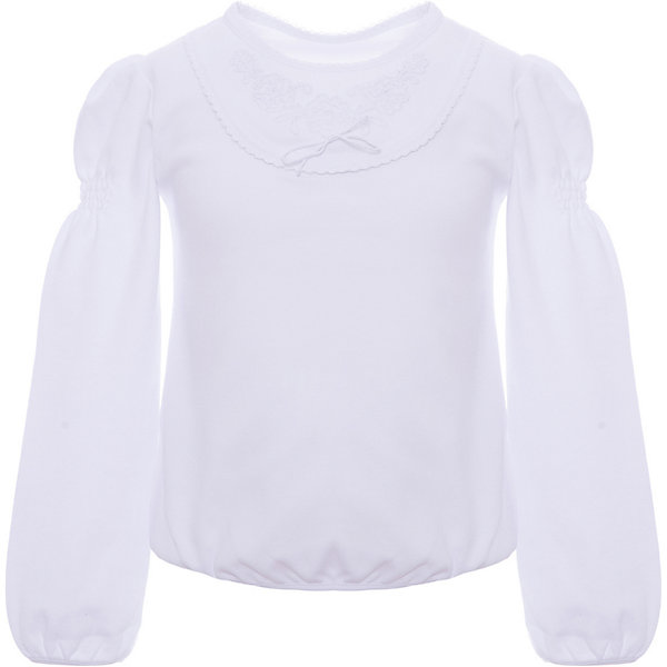 Блузка Белый снег для девочкиФутболки с длинным рукавом<br>Характеристики товара:<br><br>• цвет: молочный;<br>• пол: девочки;<br>• состав: 100% хлопок;<br>• тип: на каждый день, школьная форма;<br>• сезон: круглый год;<br>• особенности: круглая кокетка, набивной узор;<br>• рукав: длинный;<br>• застежка-кнопка сзади;<br>• страна бренда: Россия.<br><br>Трикотажный джемпер с длинным рукавом для девочки от ТМ Белый снег поможет создать локаничный повседневный образ и станет отличным дополнением гардероба. Модель выполнена из тонкого трикотажа в молочном цвете, декорирован круглой кокеткой с набивным узором. Идеально подходит как для праздников, так и для школьных будней. Джемпер будет отлично сочетаться с джинсами и брюками, а также гармонично смотреться с юбками. Приятная, натуральная ткань поможет ребенку чувствовать себя комфортно.  <br><br>Детская одежда «Белый снег» - это неизменно высокое качество и модные тенденции в каждой модели! <br><br>Джемпер Белый снег для девочки можно купить в нашем интернет-магазине.<br>Ширина мм: 30; Глубина мм: 40; Высота мм: 45; Вес г: 250; Цвет: белый; Возраст от месяцев: 96; Возраст до месяцев: 108; Пол: Женский; Возраст: Детский; Размер: 134,122/128,158,140/146,152; SKU: 8518789;
