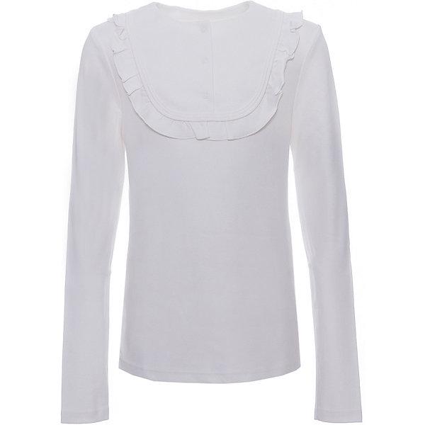 Блузка Белый снег для девочкиБлузки и рубашки<br>Характеристики товара:<br><br>• цвет: молочный;<br>• пол: девочки;<br>• ткань: трикотаж;<br>• состав: 100% хлопок;<br>• тип: на каждый день, школьная форма;<br>• сезон: круглый год;<br>• особенности: декор с рюшами;<br>• рукав: длинный;<br>• застежка-кнопка сзади;<br>• страна бренда: Россия.<br><br>Джемпер с длинным рукавом для девочки от ТМ Белый снег поможет создать локаничный повседневный образ и станет отличным дополнением гардероба. Модель выполнена в белом цвете, декорирована рюшами и бантиком на груди. Идеально подходит как для праздников, так и для школьных будней. Джемпер будет отлично сочетаться с джинсами и брюками, а также гармонично смотреться с юбками. Приятная, натуральная ткань поможет ребенку чувствовать себя комфортно.  <br><br>Детская одежда «Белый снег» - это неизменно высокое качество и модные тенденции в каждой модели! <br><br>Джемпер Белый снег для девочки можно купить в нашем интернет-магазине.<br>Ширина мм: 30; Глубина мм: 40; Высота мм: 45; Вес г: 250; Цвет: белый; Возраст от месяцев: 84; Возраст до месяцев: 96; Пол: Женский; Возраст: Детский; Размер: 122/128,158,152,140/146,134; SKU: 8518809;