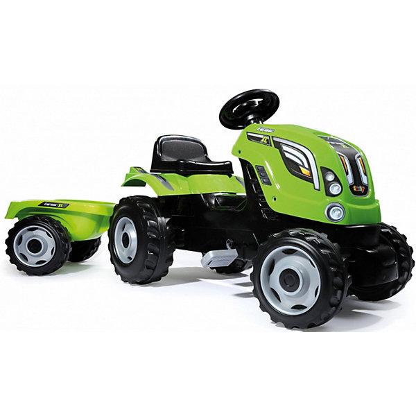 Купить Педальный трактор Smoby XL с прицепом, зеленый, Франция, Мужской