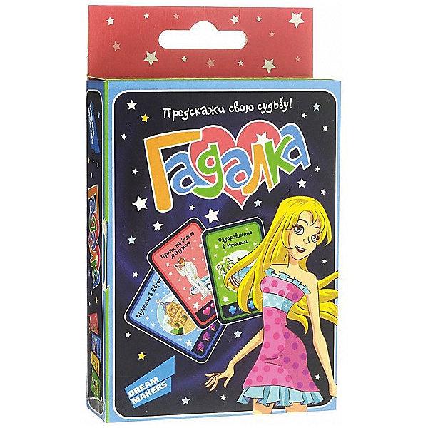Настольная игра Dream Makers ГадалкаИгры в дорогу<br>Характеристики:<br><br>• возраст: от 7 лет;<br>• количество игроков: 1-4;<br>• время игры: 15-30 мин.;<br>• в наборе: 60 карточек, 20 жетонов, кубик, правила игры;<br>• вес упаковки: 100 гр.;<br>• размер упаковки: 10х3,3х16 см;<br>• страна бренда: Россия.<br><br>В игре «Гадалка» от Dream Makers победит та, кто соберет больше всех карточек и накопит победные очки. Играя, участницы узнают, что ждет их в будущем: может, принц на белом лимузине, а, может, и счастливое лето у бабушки. Узнать предсказание помогут специальные жетоны и кубик.<br><br>Игру детскую настольную «Гадалка» можно купить в нашем интернет-магазине.<br>Ширина мм: 100; Глубина мм: 33; Высота мм: 160; Вес г: 100; Возраст от месяцев: 84; Возраст до месяцев: 168; Пол: Унисекс; Возраст: Детский; SKU: 8541602;
