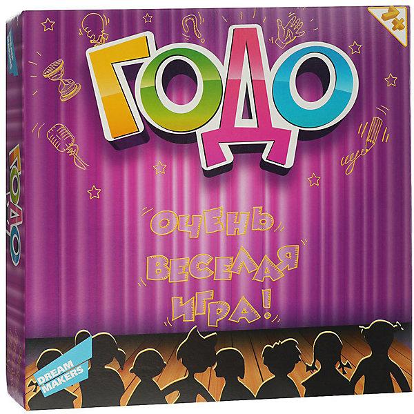 Настольная игра Dream Makers Годо 7+Для всей семьи<br>Характеристики:<br><br>• возраст: от 7 лет;<br>• количество игроков: от 2;<br>• время игры: от 30 мин.;<br>• в наборе: карточки заданий 150 шт, карточки «Вето» 16 шт. , песочные часы, блокнот для записей, правила игры;<br>• вес упаковки: 550 гр.;<br>• размер упаковки: 29х29х6 см;<br>• страна бренда: Россия.<br><br>Настольная игра «Годо» от Dream Makers рассчитана на неограниченное количество игроков – чем больше, тем веселее. Игрокам предстоит объяснять слова за ограниченное количество времени. Сделать это не так просто, способы объяснения самые разные: от устной речи до пантомимы. Побеждает набравший больше всех очков.<br><br>Детскую настольную игру «Годо» 7+ можно купить в нашем интернет-магазине.