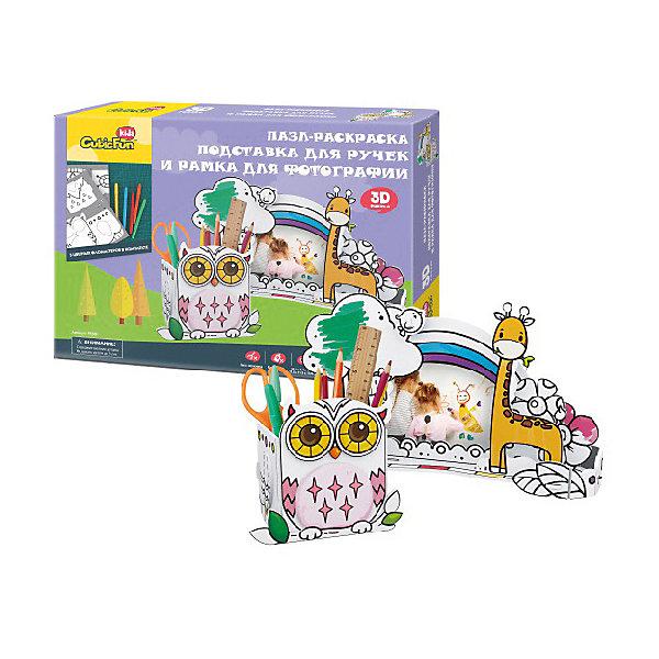 Пазл- раскраска 3D CubicFun Сова и жираф3D пазлы<br>Характеристики товара:<br><br>• возраст: от 5 лет;<br>• материал: бумага и пена EPS;<br>• количество деталей: 24;<br>• размер упаковки: 30х22х5 см;<br>• вес упаковки: 422 гр.;<br>• страна бренда: Китай.<br><br> Еще никогда игровой и творческий процессы не были таким интересными и увлекательными.На это раз юному дизайнеру предстоит собрать подставку для канцелярских принадлежностей в виде очаровательной совы и очень оригинальную фоторамку с жующими травку жирафами. <br><br>В комплект также входят 5 разноцветных фломастеров.<br><br>Пазл- раскраска 3D CubicFun Сова и жираф можно купить в нашем интернет-магазине.<br>Ширина мм: 300; Глубина мм: 50; Высота мм: 220; Вес г: 422; Возраст от месяцев: 60; Возраст до месяцев: 2147483647; Пол: Женский; Возраст: Детский; SKU: 8541652;