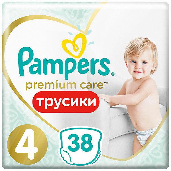 Трусики Pampers Premium Care 9-15 кг, Размер 4, 38  шт.Трусики-подгузники<br>Характеристики товара:<br><br>• возраст: от 6 месяцев;<br>• в комплекте: 38 трусиков;<br>• весовая категория: 9-15 кг;<br>• размер: 4;<br>• размер упаковки: 34,2х22,9х13,2 см;<br>• вес упаковки: 1,066 кг.<br><br>Трусики Pampers Premium Care 38 шт. обеспечивают малышу комфорт и сухость в течение целого дня. Трусики легко и быстро одеваются, не сползают и не доставляют дискомфорта даже, когда малыш активно двигается. Благодаря удобному эластичному ремешку они хорошо сидят.<br><br>Трусики впитывают и удерживают влагу до 12 часов. Они выполнены из очень мягкого нежного материала, безопасного для малыша, не вызывают раздражения на коже.<br><br>Трусики Pampers Premium Care 38 шт. можно приобрести в нашем интернет-магазине.