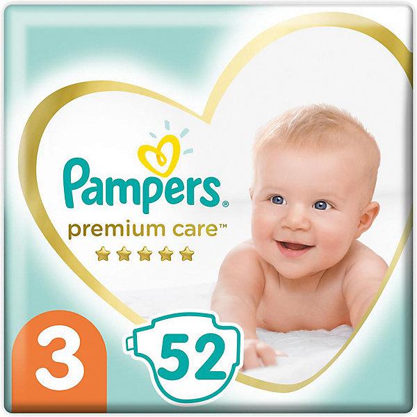 Подгузники Pampers Premium Care 6-10 кг, размер 3, 52 шт.Подгузники классические<br>Характеристики товара:<br><br>• возраст: от 3 месяцев;<br>• в комплекте: 52 подгузника;<br>• весовая категория: 6-10 кг;<br>• размер: 3;<br>• размер упаковки: 41,4х22,4х11,5 см;<br>• вес упаковки: 1,234 кг.<br><br>Подгузники Pampers Premium Care 52 шт. обеспечивают малышу комфорт и сухость в течение целого дня. Подгузники имеют уникальный верхний слой, который впитывает не только влагу, но и жидкий стул. Воздушные каналы обеспечивают сухость и защиту до 12 часов. Индикатор влаги показывает, когда приходит время менять подгузник.<br> <br>Эластичные боковины не натирают и повторяют каждое движение малыша. Подгузники выполнены из очень мягкого нежного материала, безопасного для малыша, не вызывают раздражения на коже.<br><br>Подгузники Pampers Premium Care 52 шт. можно приобрести в нашем интернет-магазине.<br>Ширина мм: 224; Глубина мм: 115; Высота мм: 414; Вес г: 1234; Цвет: разноцветный; Возраст от месяцев: 3; Возраст до месяцев: 12; Пол: Унисекс; Возраст: Детский; SKU: 8541660;