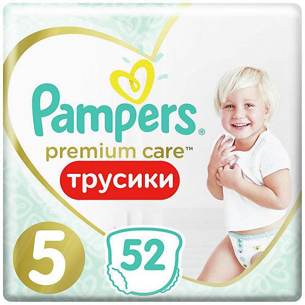 Трусики Pampers Premium Care 12-17 кг, размер 5, 52шт.Трусики-подгузники<br>Характеристики товара:<br><br>• возраст: от 6 месяцев;<br>• в комплекте: 52 шт.;<br>• весовая категория: 12-17 кг;<br>• размер: 5;<br>• размер упаковки: 46х24,1х13,4 см;<br>• вес упаковки: 1,602 кг.<br><br>Трусики Pampers Premium Care 52 шт. обеспечивают малышу комфорт и сухость в течение целого дня. Трусики легко и быстро одеваются, не сползают и не доставляют дискомфорта даже, когда малыш активно двигается. Благодаря удобному эластичному ремешку они хорошо сидят.<br><br>Трусики впитывают и удерживают влагу до 12 часов. Они выполнены из очень мягкого нежного материала, безопасного для малыша, не вызывают раздражения на коже.<br><br>Трусики Pampers Premium Care 52 шт. можно приобрести в нашем интернет-магазине.<br>Ширина мм: 241; Глубина мм: 134; Высота мм: 460; Вес г: 1602; Цвет: разноцветный; Возраст от месяцев: 6; Возраст до месяцев: 36; Пол: Унисекс; Возраст: Детский; SKU: 8541686;