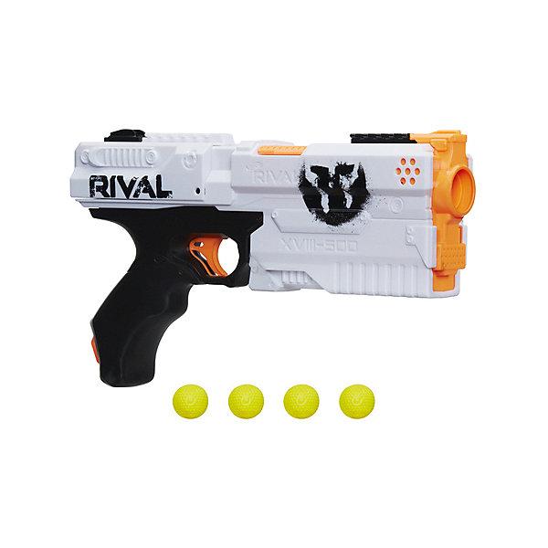 Бластер НЁРФ РАЙВАЛ КроносИгрушечные пистолеты и бластеры<br>Характеристики:<br><br>• возраст: от 14 лет;<br>• материал: пластик;<br>• в наборе: бластер, 5 патронов, 2 флажка, инструкция;<br>• скорость выстрела: 27 м/сек.;<br>• вес упаковки: 660 гр.;<br>• размер упаковки: 20х33х6 см;<br>• страна бренда: США.<br><br>Бластер Nerf Rival «Кронос» комплектуется пятью зарядами-шариками для точной и быстрой стрельбы. Пружинный механизм позволяет стрелять без подзарядки. Яркие патроны легко найти после выстрела.<br><br>В наборе есть флажки двух цветов. Игрок выбирает нужный флажок и цепляет его к бластеру, определяя цвет своей команды. Бластер удобно держать в руке и перезаряжать. Сделано из качественного пластика. Внимание! Бластером нельзя целиться в глаза и лицо.<br><br>Бластер Нёрф Райвал «Кронос» можно купить в нашем интернет-магазине.<br>Ширина мм: 64; Глубина мм: 330; Высота мм: 203; Вес г: 3176; Возраст от месяцев: 168; Возраст до месяцев: 2147483647; Пол: Мужской; Возраст: Детский; SKU: 8541690;